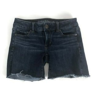 American Eagle Womens Shorts Size 0 Midi Dark Wash